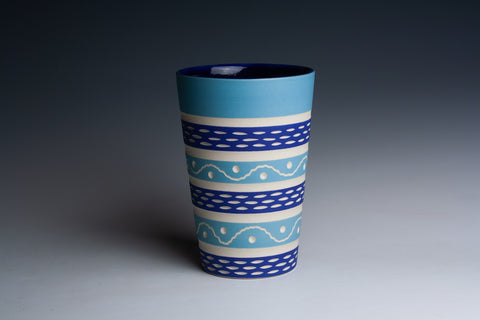 Carved Two-Tone Blue Tumbler