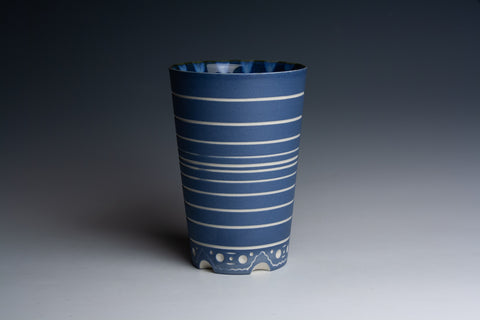 Carved Blue Tumbler with Striped Interior