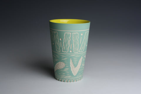 Carved Green and Yellow Tumbler