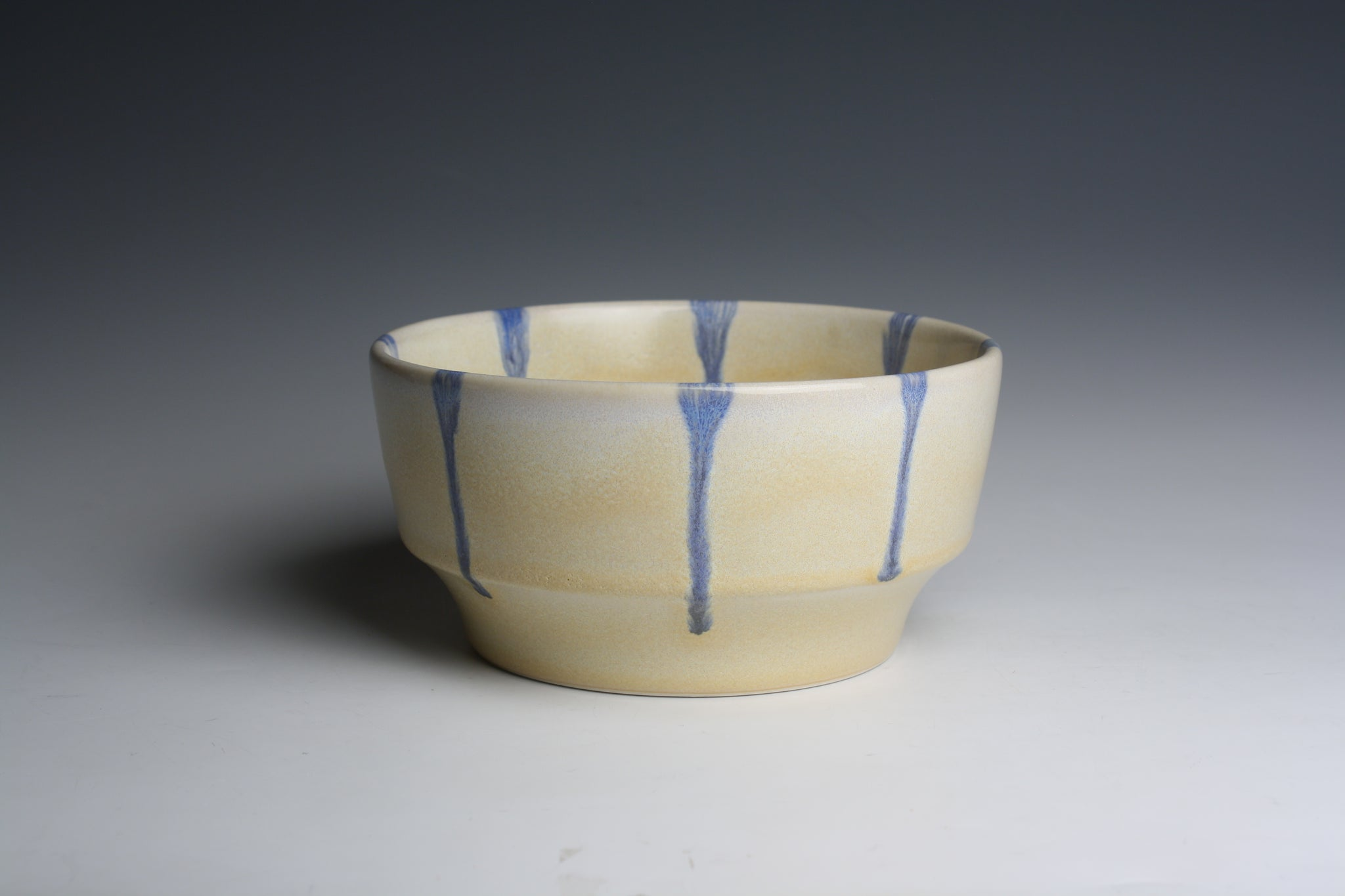 Bowl with Blue Drips