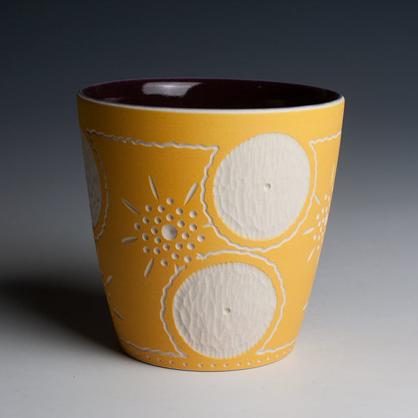 Carved Tangerine and Purple Cup