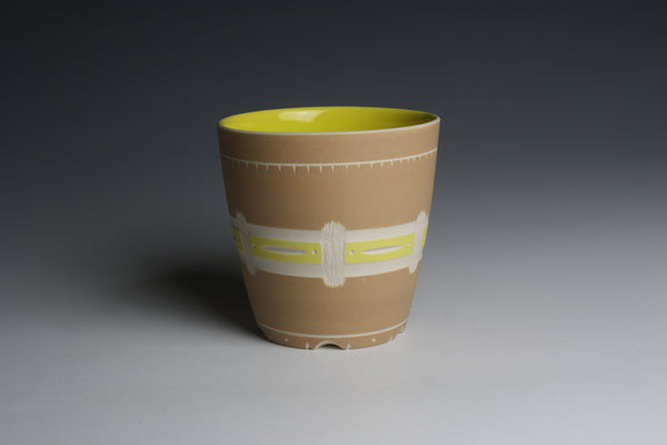 Carved Cinnamon and Yellow Cup