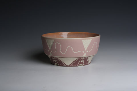Carved Purple and Pink Bowl