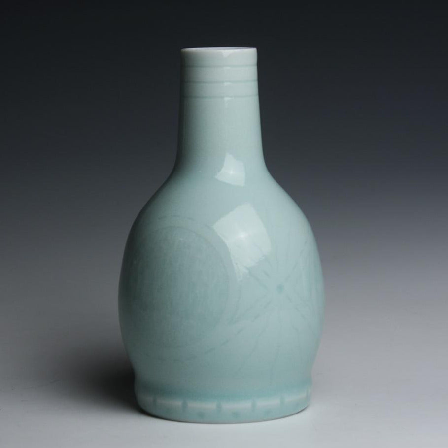 Carved Porcelain Vase with Celadon Glaze