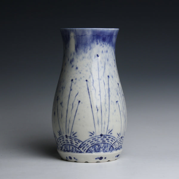 Carved Porcelain Vase with Cobalt Inlay