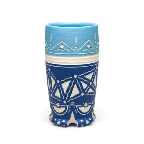 Carved Two-toned Blue Tumbler