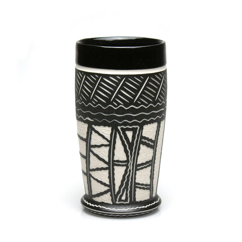 Carved Black Tumbler with Gloss Rim