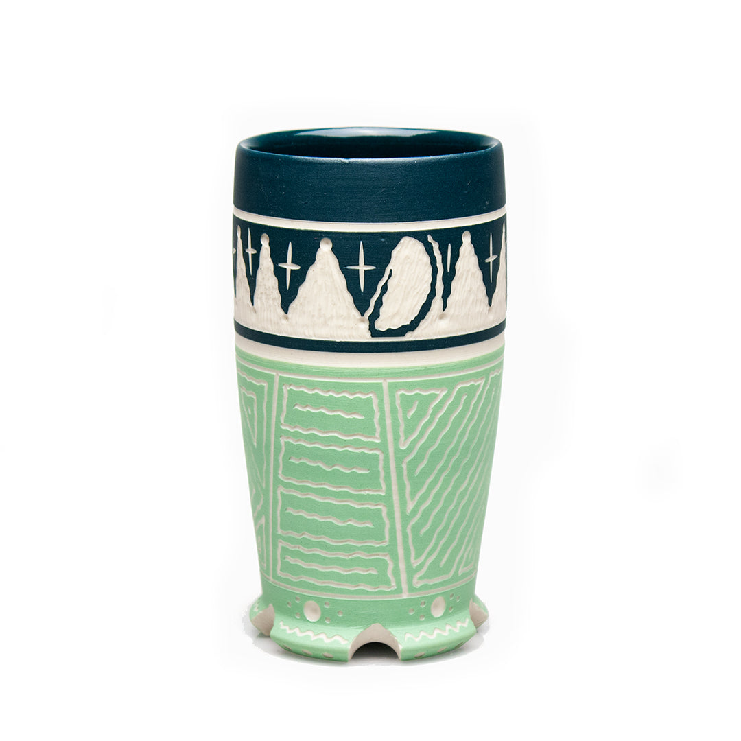 Carved Two-toned Green Tumbler