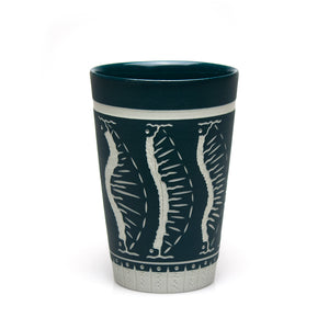 Carved Blue-Green Tumbler