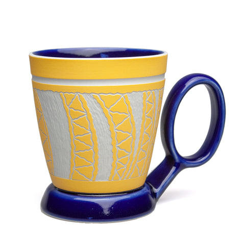 Carved Tangerine and Cobalt Mug
