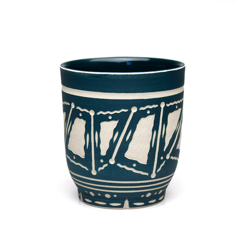 Carved Blue-Green Cup
