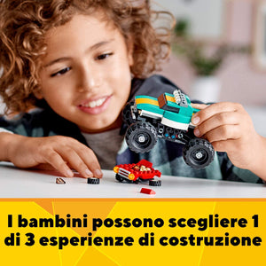 LEGO CREATOR , SET COSTRUZIONI 3 IN 1 , MONSTER TRUCK ,MUSCLE CAR E DRAGSTER , COD 31101