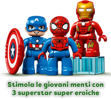 Carica l'immagine nel visualizzatore di Gallery, LEGO DUPLO , SUPER HEROES MARVEL , IL LABORATORIO DEI SUPEREROI CON IRONMAN ,SPIDERMAN E CAPTAIN AMERICA ,PER BAMBINI DAI 2 ANNI IN SU ,COD 10921