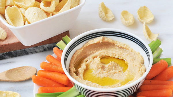 Almond Butter Hummus Recipe with Simply7 Hummus Chips Sea Salt
