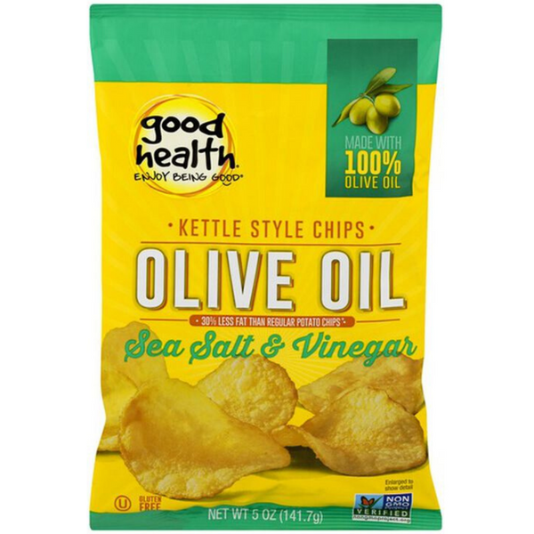 Good Health Kettle Style Potato Chips Salt & Vinegar 142g / 100% Olive Oil