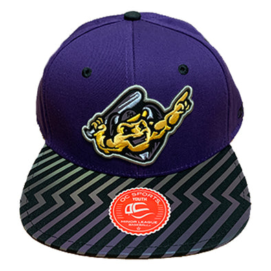 Youth Bolt Adjustable Hat, Purple