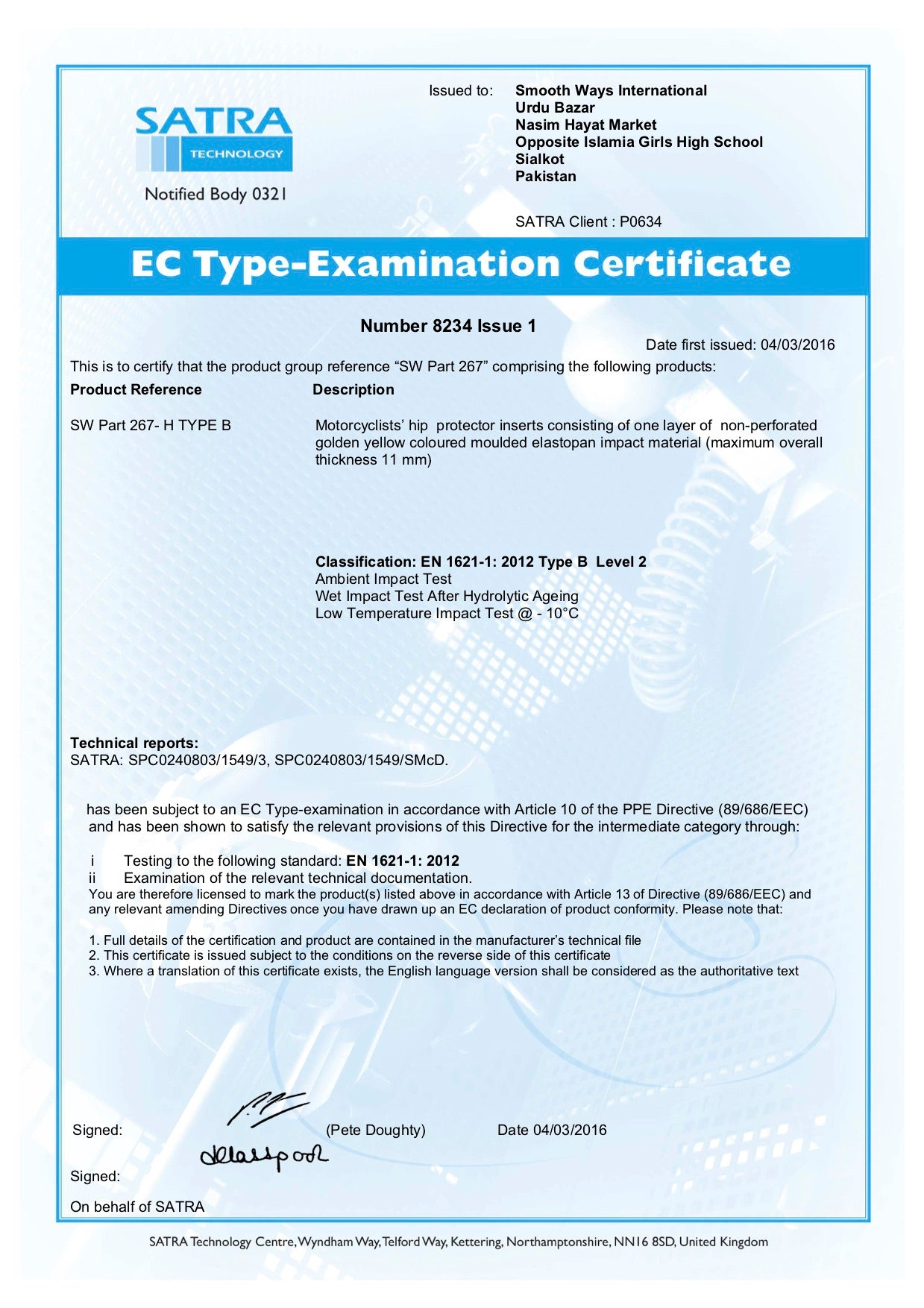 An examination certificate from a leading motorcycle safety body which confirms approval of the safety standards of the motorbike clothing when testing for hip protection.