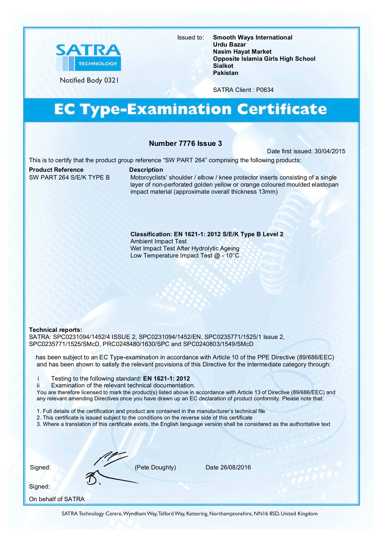 An examination certificate from a leading motorcycle safety body which confirms approval of the safety standards of the motorbike clothing when testing for shoulder, elbow and knee protection.