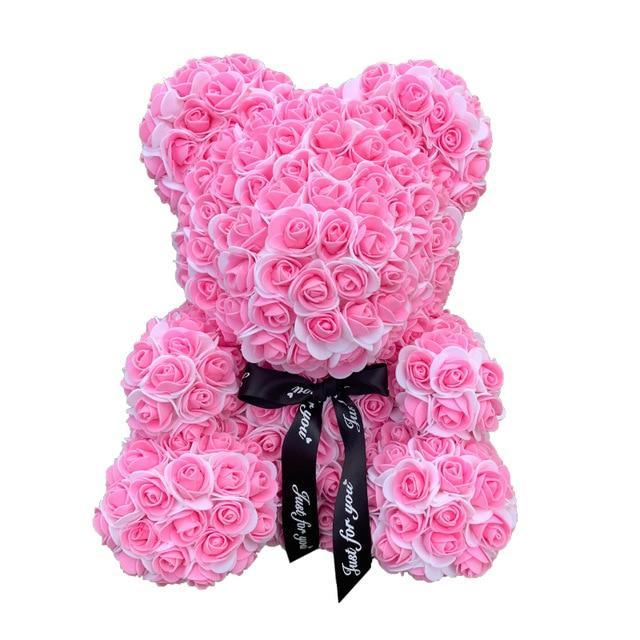 Ours™ en Rose Artificielle Rose & Blanc (40 cm)