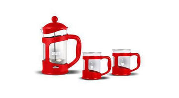 BIALETTI COFFEE PRESS SET - RED + 2 MUG