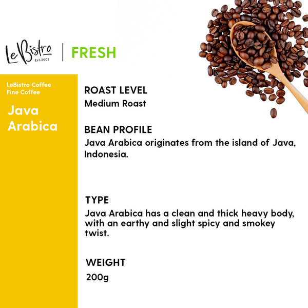 LEBISTRO Select Freshly Roasted Coffee Beans, Java Arabica, 200 G - BUNAMARKET
