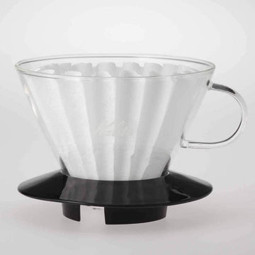 Kalita 185 Glass Wave Coffee Dripper (BLK)