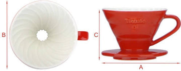 V01 PORCELAIN COFFEE DRIPPER - RED (1-2 CUPS)