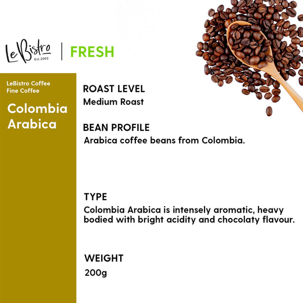 LEBISTRO Select Freshly Roasted Coffee Beans, Colombia Arabica, 200 G - BUNAMARKET