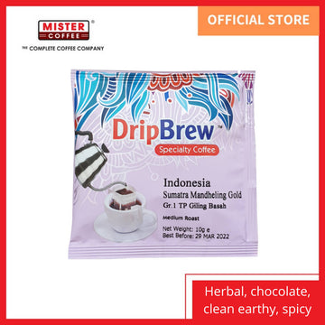 [Mister Coffee] Specialty Coffee Drip Coffee Dripbrew™️ Indonesia Sumatra Mandheling Gold / Grade 1 TP (Giling Basah) - 1 Sachet