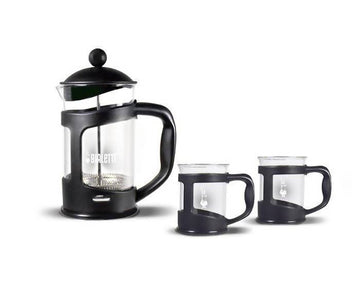 BIALETTI COFFEE PRESS SET - BLACK + 2 MUG