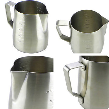 Tiamo Mirror Finish 18-8 Stainless Steel Milk Pitcher with Mark