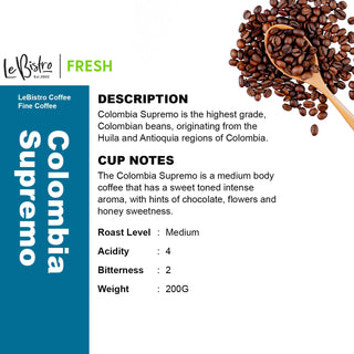 LEBISTRO Essence Freshly Roasted Coffee Beans, Colombia Supremo, 200 G - BUNAMARKET