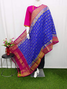 Pochampally Ikkat Silk Blue Dupatta & Pink Border