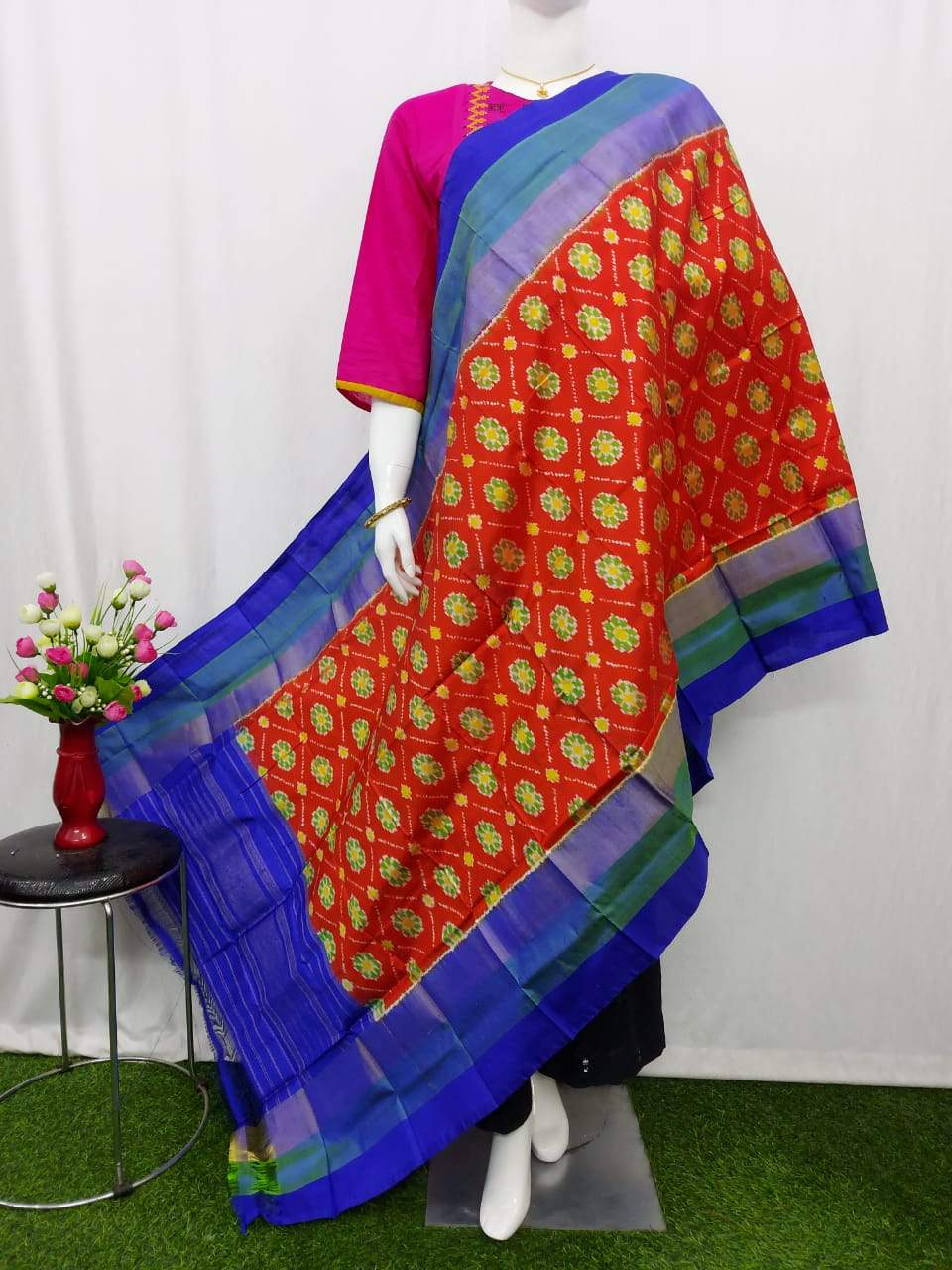 Pochampally Ikkat Silk Orange Dupatta with Blue Border