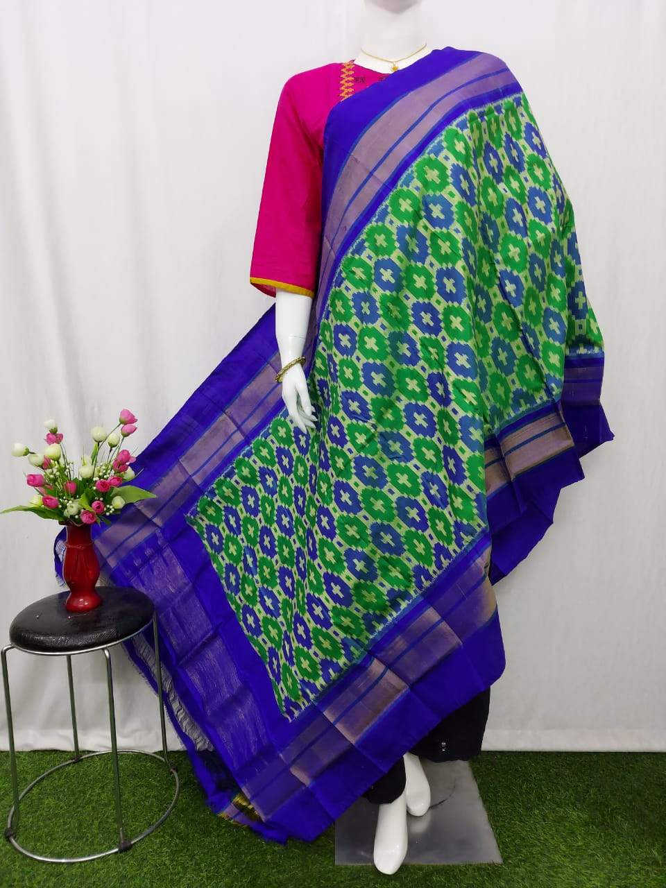 Pochampally Ikkat Silk Ink Green Dupatta & Blue Shade Border