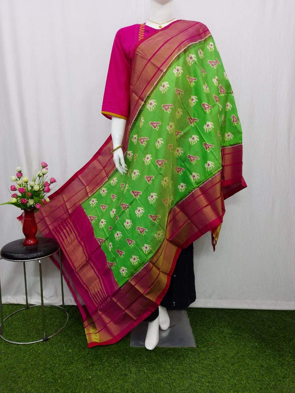 Pochampally Ikkat Silk Parrot Green Dupatta with Maroon Border