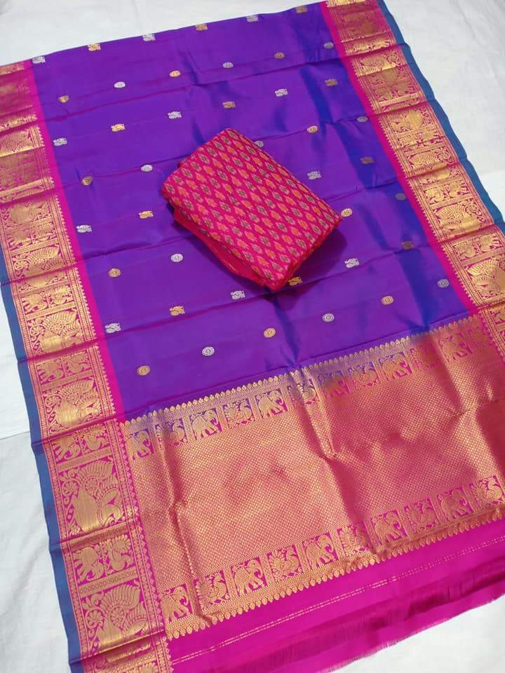 gadwal dupatta purple color with ikkat top