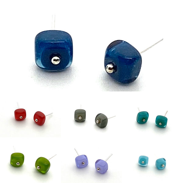 Tiny Square Stud Post Earrings - Choice of Colors