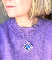 Large Offset Stacked Square Necklace in Blue and Turquoise