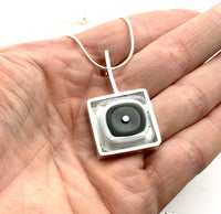 Square Drop Necklace Sterling Silver and Modern Art Glass in Gray and White