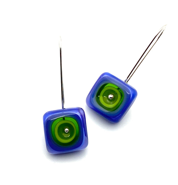 Long Square Earrings in Violet and Chartreuse Green Glass and Sterling Silver