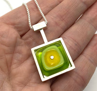 Square Drop Necklace in Yellow and Green Glass and Sterling Silver