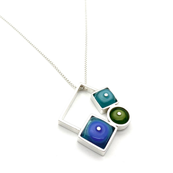 Falling Shapes Necklace, Modern Blue Turquoise Necklace
