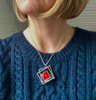Stacked Offset Square Necklace in Red Glass and Sterling Silver