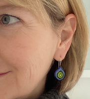 Leaf Dangle Earrings in Violet and Chartreuse Green