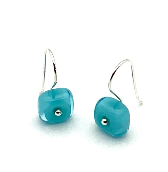 Tiny Square Dangle Earrings in Turquoise Aqua Glass and Sterling Silver