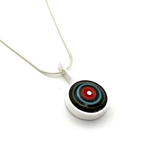 Glass and Silver Drop Necklace - Glass Disk in Red, Turquoise, and Gray