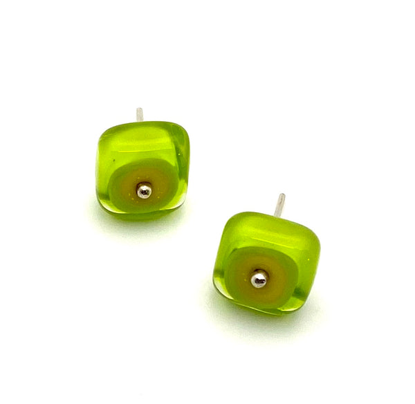 Large Square Stud Earrings in Green and Yellow Glass and Sterling Silver