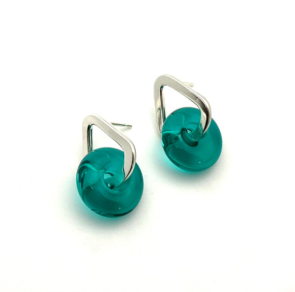 Glass And Silver Donut Earrings in Teal