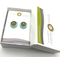 Circle Stud Earrings Large Taupe and Pale Green Glass and Sterling Silver